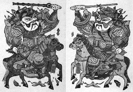 桃木板上,书写或刻划神荼,郁垒文字或画像,悬索于门户,用以辟邪驱鬼