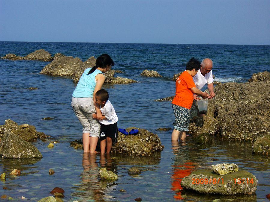去了养马岛的海水浴场,人很多,于是姐夫领着我们来到这一僻静处