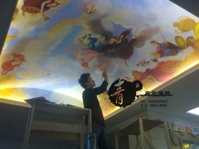西方欧式油画风格 天花板 以及墙绘的答问