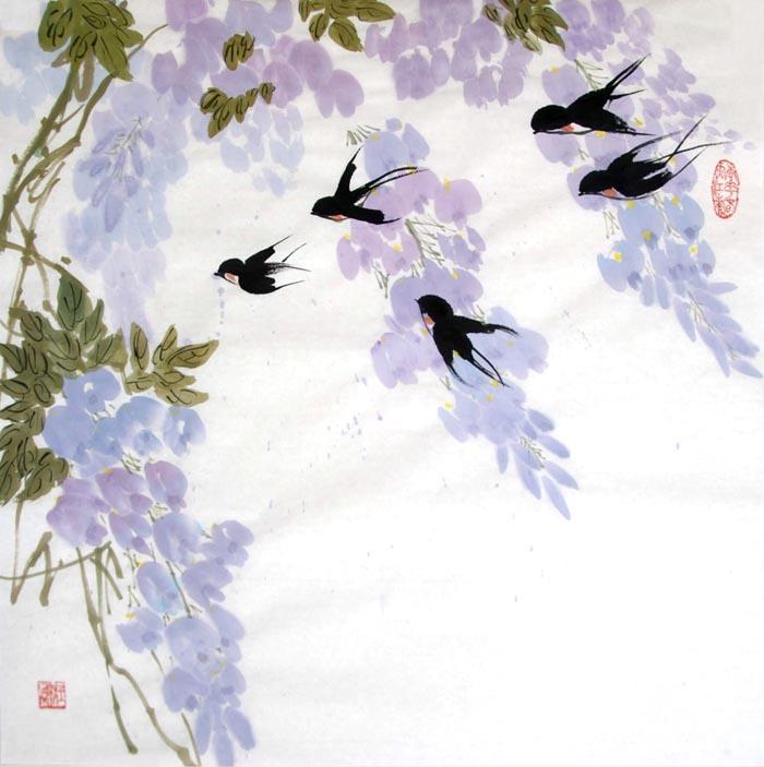 徐湛花鸟画教学:孔雀和翠鸟的画法!