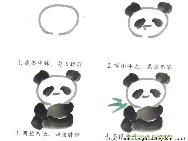 水墨画熊猫画法步骤图-熊猫线条图