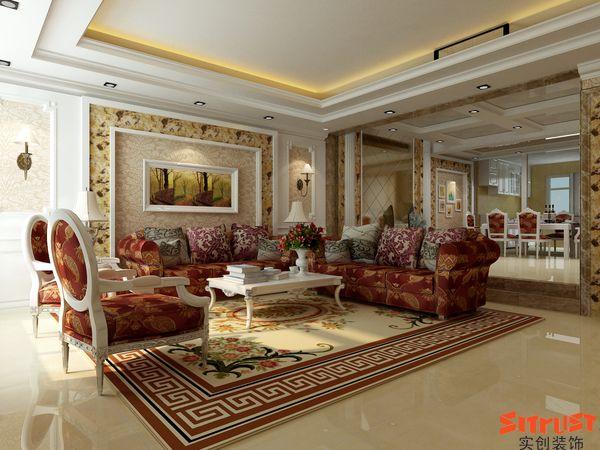 客厅圆弧造型效果图,客厅吊顶圆弧多层次效果图,大圆弧木地板效果图