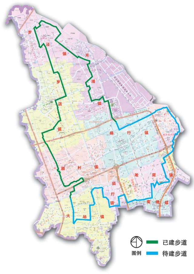 宝山区环区生态步行道地图