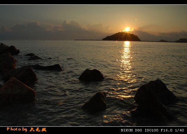 海边日出渐变水粉画