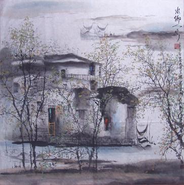 国画大师李可染、陆俨少、黄宾虹、黄秋圆的作品汲取营养.她