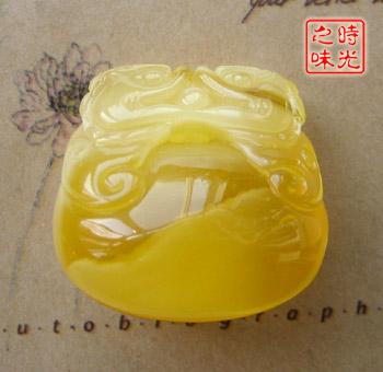 天然金绞蜜蜡 精品大木鱼雕刻挂件● 木鱼2.85厘米*2.
