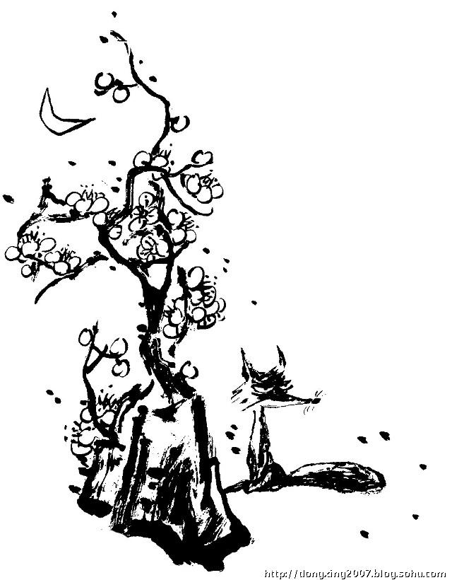 雪中梅手绘图片