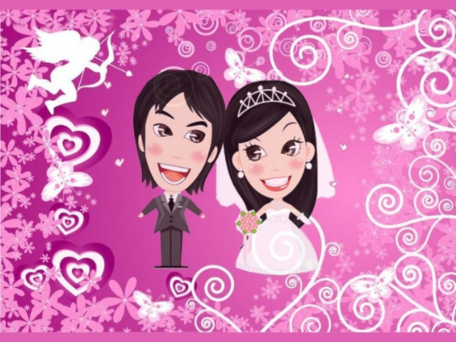 仪式开始后,背景不可能再变幻照片了,所以我就用我们那对新郎新娘的