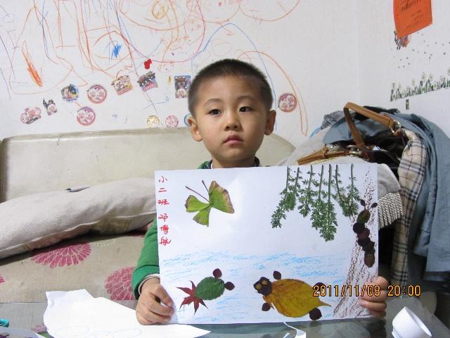 银杏树叶粘贴画图片_儿童银杏树叶粘贴画