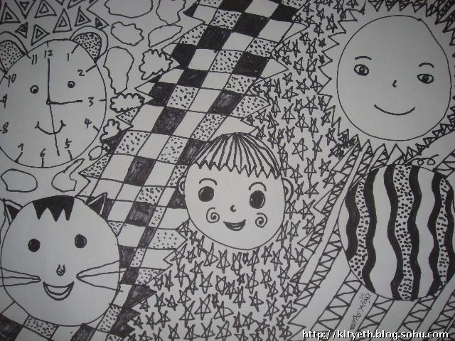 幼儿装饰画作品欣赏 黑白花瓶 .