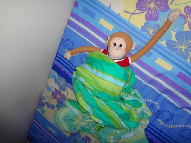 """不晓得小猴子是啥时候开始得宠的,反正当我发现这个事实的时候,犇已经天天拖着它在家里到处溜达了。但凡吃到喜欢的东西,在姥姥吃灯灯吃之余,多了个""""小猴子吃一口"""";但凡想睡觉的时候,在灯灯睡觉了蝶蝶睡觉了同时,添了句""""小猴子睡觉了"""";甚至出门,都得拽着小猴子,说""""小猴子抱住犇犇,一起下去玩"""";呃,小猴子,您也享了这么多年清福了,就任劳任怨的服务一阵子吧。"""