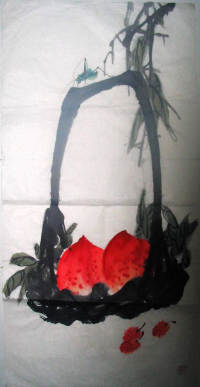 国画《蝈蝈和桃子》-百合诗画-搜狐博客图片