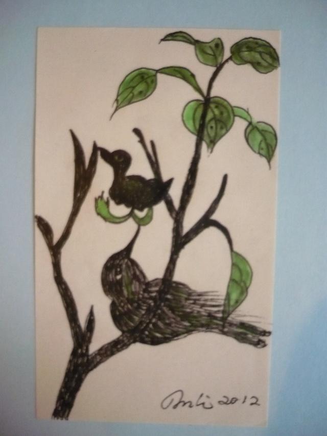 我的彩水笔画-春江水暖鸭上树
